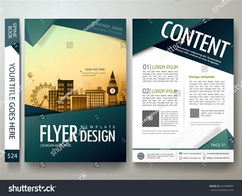 quot green abstract shape poster portfolio layout design city flyers design template vector modern brochure stock vector