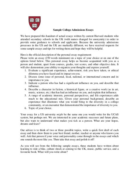 Admission Essay Harvard by Real Harvard Essays