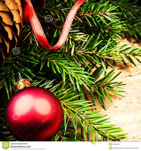 christmas ornaments close up christmas tree branch on
