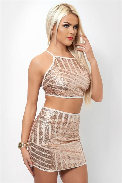 Crop Skirt gold sequin crop top mini skirt the fashion bible from
