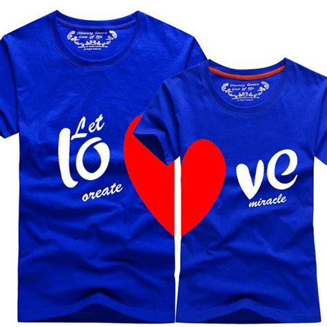 personalized heartbeat couple t shirts korean fashion matching couple clothes heart love print t