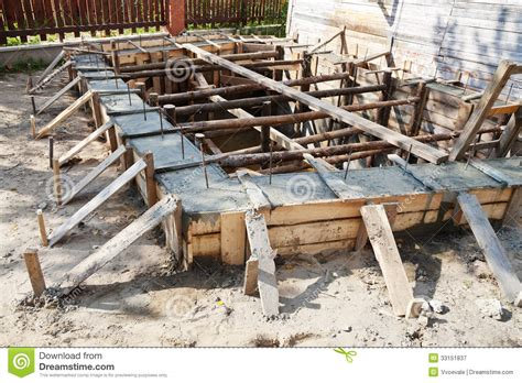 wooden formwork concrete foundation stock image image