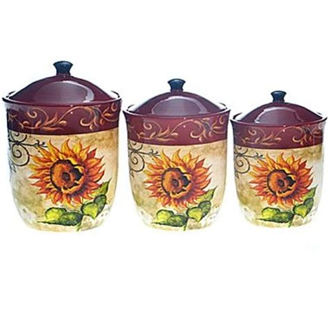 sunflower canister sets kitchen tuscan sunflower 3 pc canister set jcpenney home