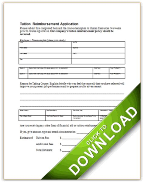 tuition reimbursement form template application for tuition reimbursement