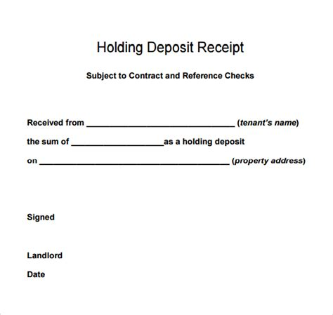 receipt for rent deposits template best photos of sle deposit receipt sle deposit