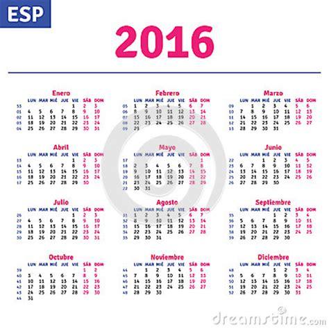 Calendrier Num Ro Semaine 2016 Calendrier Espagnol 2016 Illustration De Vecteur Image