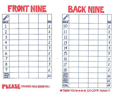 miniature golf score card burgsandfreermulb s blog