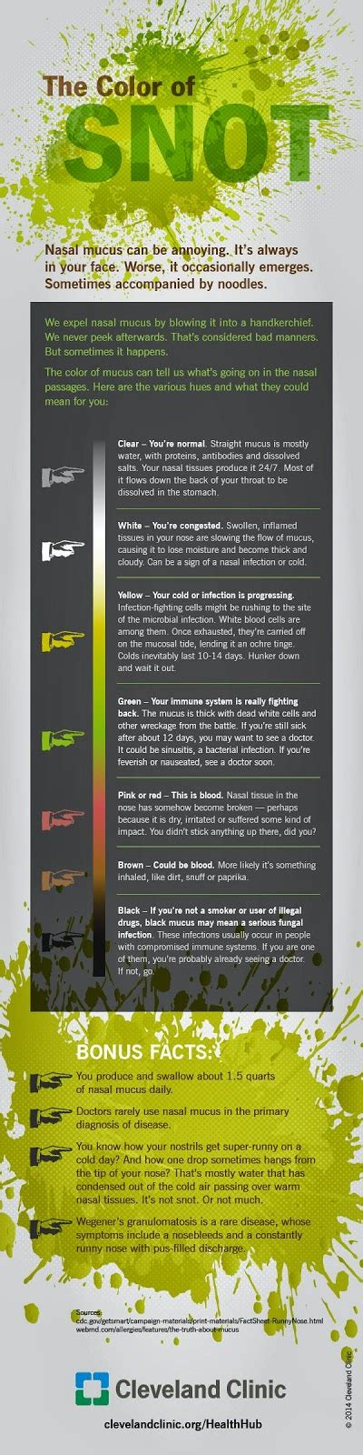 sinus infection mucus color color of snot infographic fauquier ent