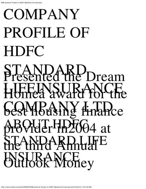 Mba Project Hdfc Standard Insurance by Mba Summer Project On Hdfc Standerd Insurance