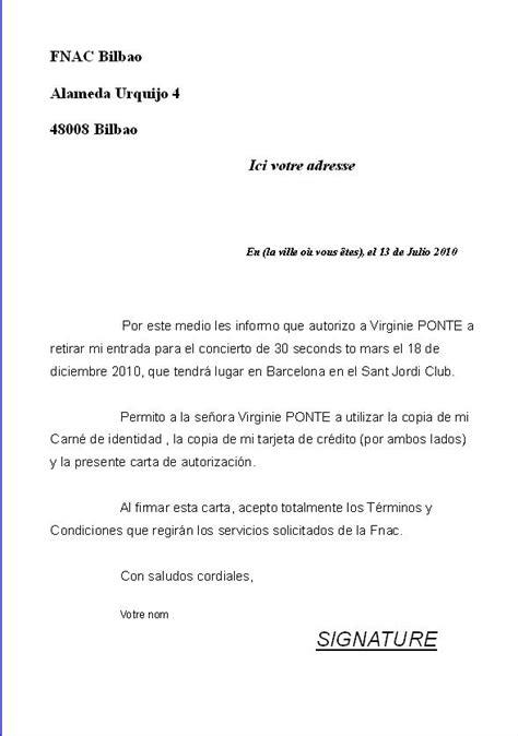 Exemple De Lettre Qui Certifie Sur L Honneur Termine Courrier D Autorisation Et Retrait Des Places Pour Barcelone