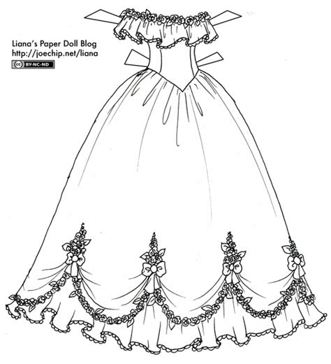 coloring pages ball gowns black and white liana s paper dolls