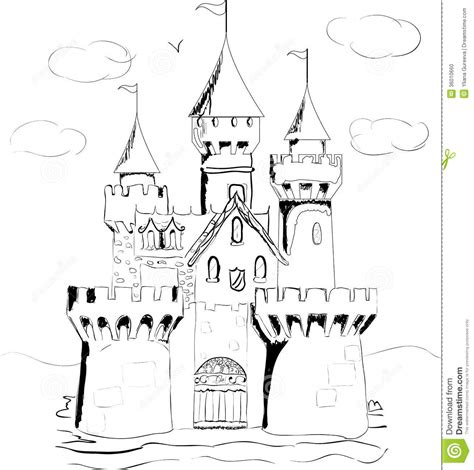 fairy tale castle coloring page drawn palace fairytale castle pencil and in color drawn