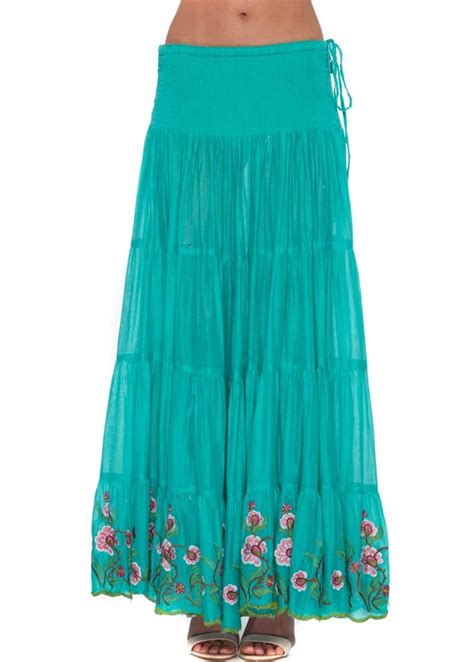 antica sartoria emerald green cotton boho maxi skirt