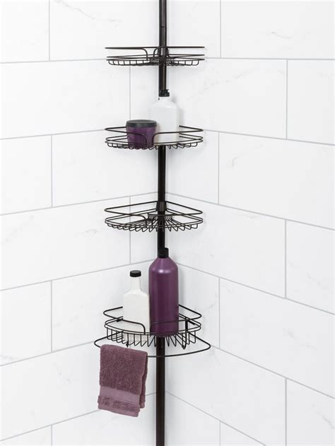 bathroom tension pole caddy bathroom wrought iron tension pole corner shower caddy