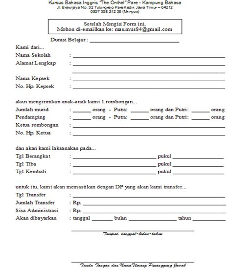 formulir pendaftaran kung inggris the onthel pesantren bahasa