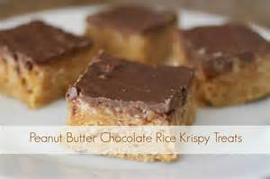 peanut butter rice krispie bars with chocolate topping