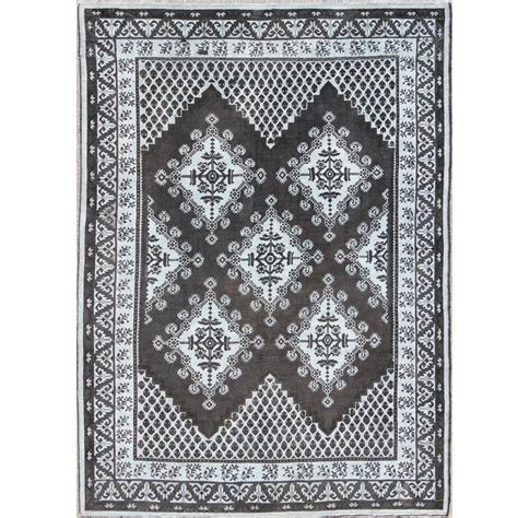 moroccan geometric rug geometric design vintage tribal moroccan rug with black and gray for sale at 1stdibs