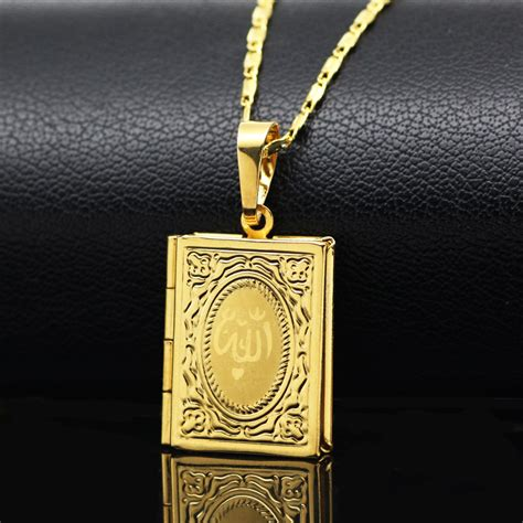 weiyu allah quran box necklace for muhammad gold