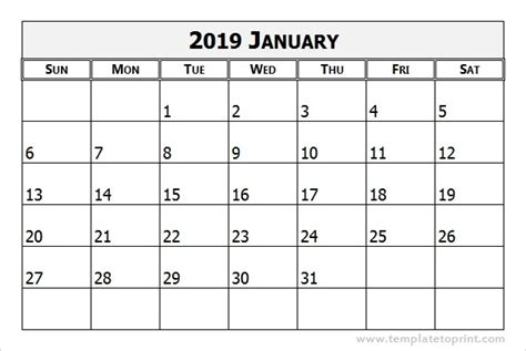 Calendar 2019 January Print January 2019 Calendar Template For United States