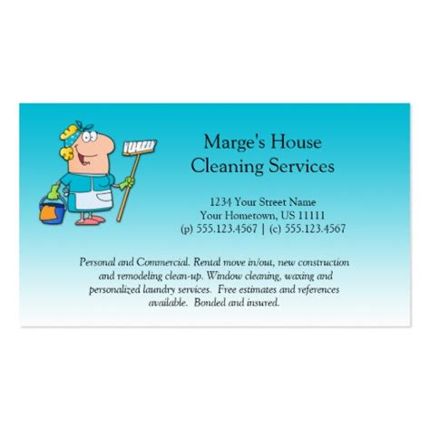 house cleaning business cards teal cartoon maid house cleaning customer loyalty zazzle
