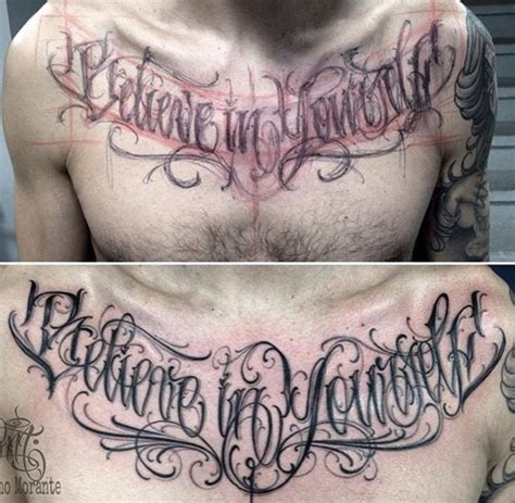 believe in yourself chest lettering tattoo lettering