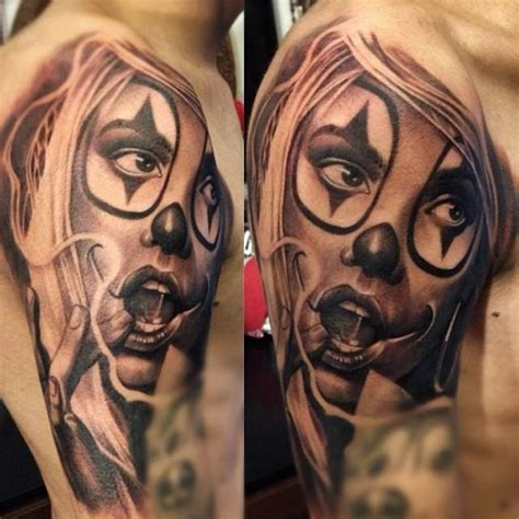 tattoo lady joker clown girl pesquisa google tattoos chicana cultura