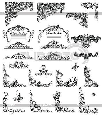 set  vintage floral  black  white stock