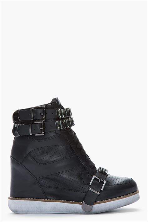 black leather wedge sneakers jeffrey cbell black leather crystalaccented bonn wedge