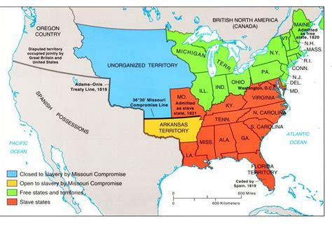 Map Of United States In 1820 by The Missouri Compromise And The Compromise Of 1850