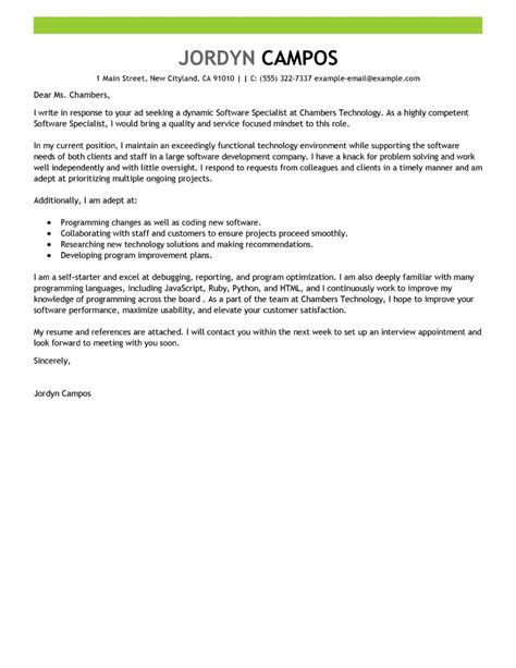 Career Development Specialist Cover Letter by Leading Professional Software Specialist Cover Letter Exles Resources Myperfectcoverletter