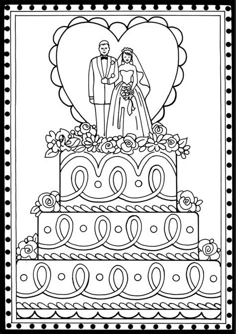 coloring page wedding cake welcome to dover publications