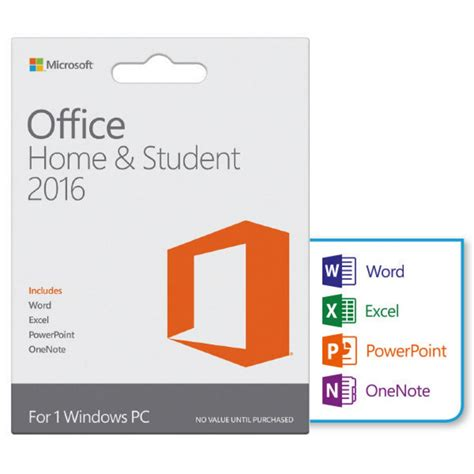 office home student 2016 1 pc product key card