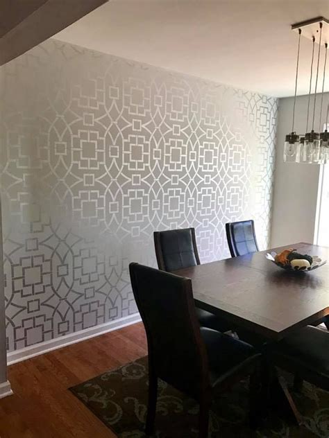 stencils for rooms a diy stenciled dining room accent wall using the tea house trellis a popular moroccan wall