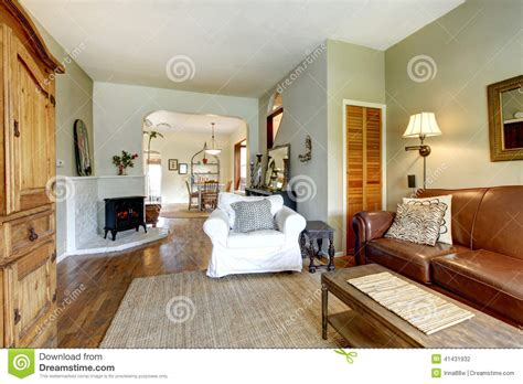 living room in house with antique furniture stock