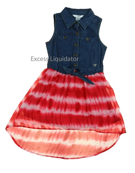 Kid Dress Lace guess patterned denim and lace dresses