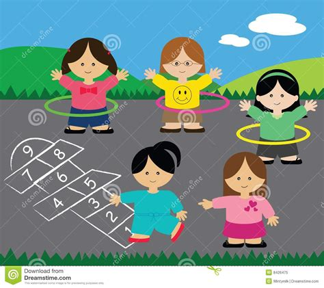 imagenes de niños jugando en el parque girls playing hopscotch and hula hoops stock illustration