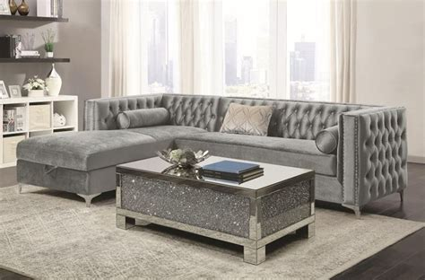 Silver Sectional Sofa by Coaster 508280 Bellaire Sectional Sofa In Silver