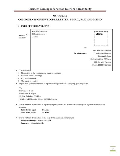 Business Letters In The Hotel And Tourism Industry business correspondence for the tourism industry