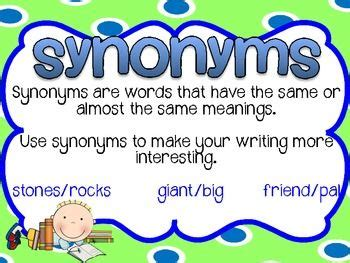 theme synonym and antonym synonyms antonyms posters blue green theme green