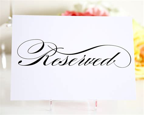 reserved seating signs template reserved sign for wedding reception ceremony or vip