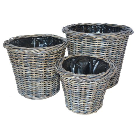 Wicker Planter Baskets by Exbury Rattan Planter Charcoal Grey