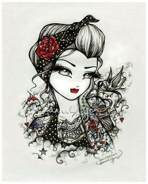 5x7 rockabilly cherry rose sparrow tattoo fairy big