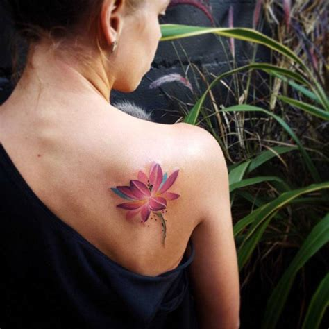 lotus shoulder tattoo purple lotus on shoulder blade best ideas