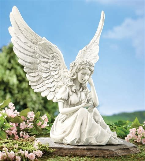 outdoor angel statues angelic wing outdoor garden resin statue yard decor 9 1 2 quot h new i8011 ebay
