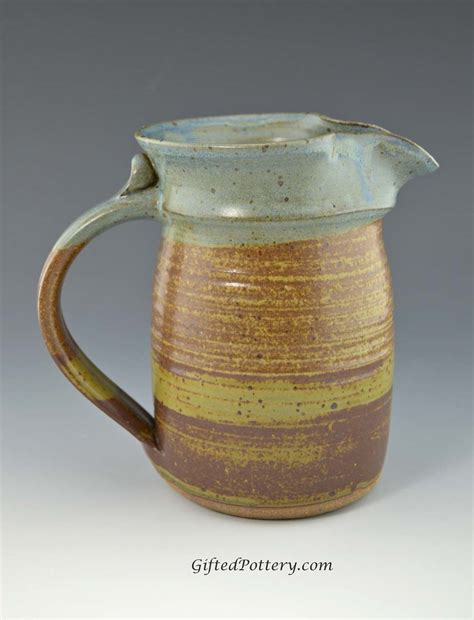 Pottery Pitchers Handmade - medium pottery pitcher 24 oz terracotta brown blue