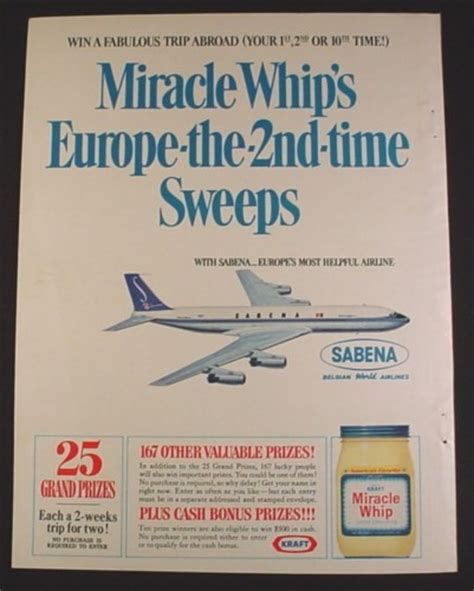Europe Trip Sweepstakes - magazine ad for miracle whip trip to europe sweepstakes sabena airlines jet 1967 8