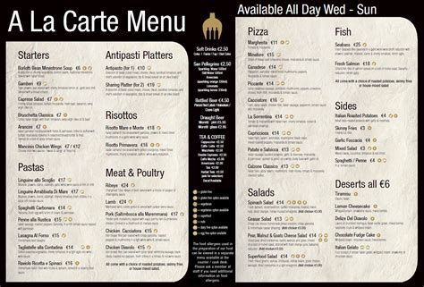 a la carte menu list pictures to pin on pinterest pinsdaddy