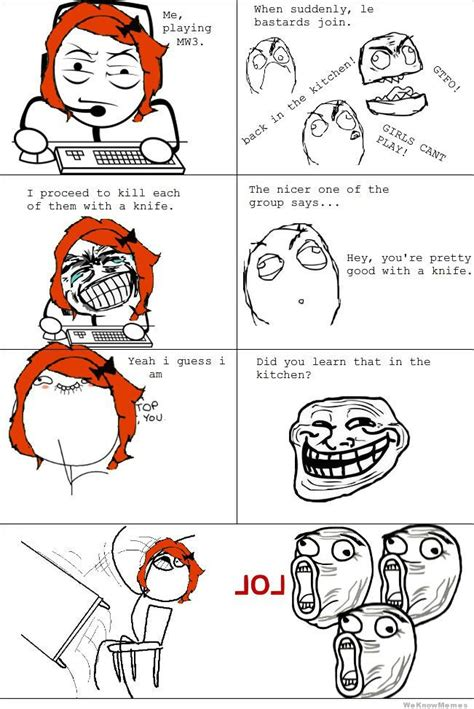 Rage Comic Memes - girl gamer rage weknowmemes