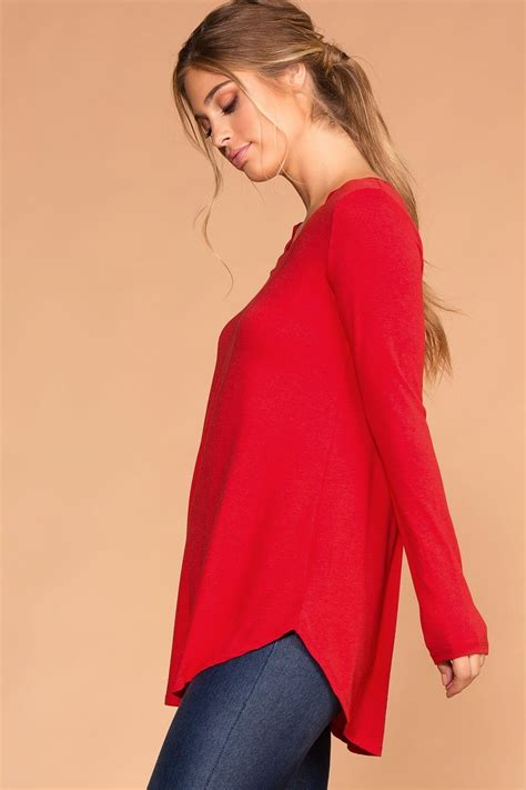 V Neck Sleeved Top ruby sleeve v neck top