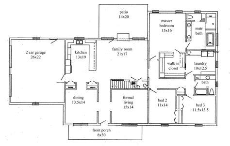 Floor Plans For 3 Bedroom Ranch Homes open floor plans bedroom ranch style homes wiring scott